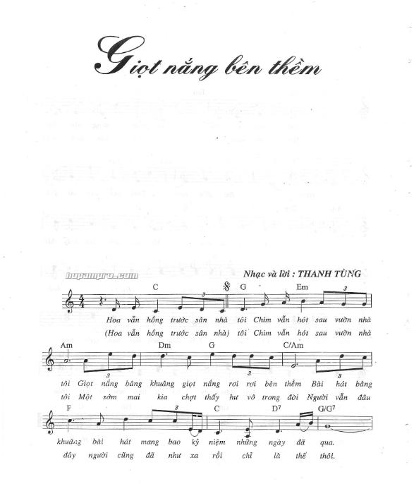 Sheet nhạc bài: GIỌT NẮNG BÊN THỀM - Hợp âm Pro
